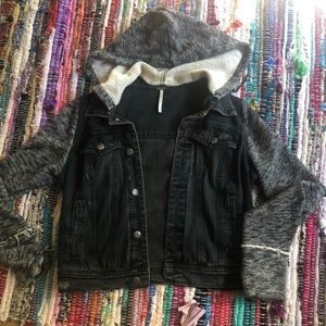 Free people denim / sweat jacket .